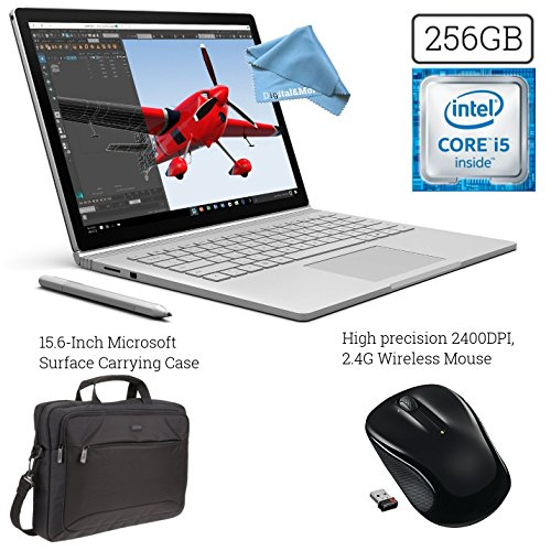 Microsoft Surface Book (256GB, 8GB RAM, Intel Core i5) + 15.6-Inch Microsoft Surface Carrying Case + 2.4G Wireless Portable Mobile Optical Mouse w/ USB Receiver + DigitalAndMore Cloth Bundle