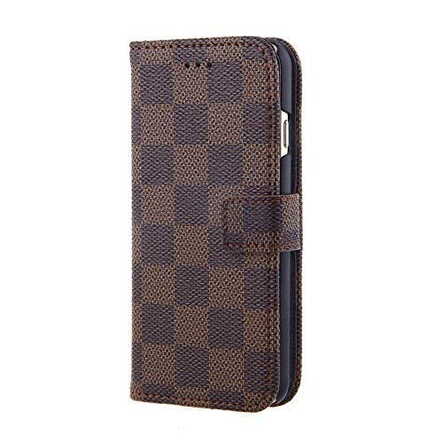 iPhone 7 Plus, Case Wallet Luxury Grid Checker Faux Leather Fashion Designer Magnet Flip Case Skin Cover Stand With Card holder(Brown)