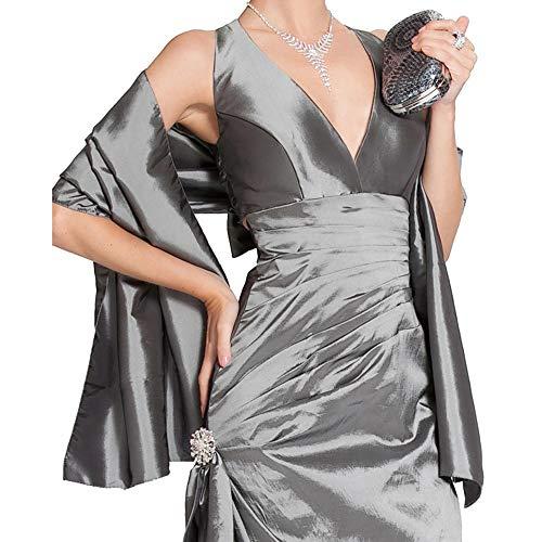 LANSITINA Scarf Shawl Wrap Bridal Stole Extra Large Wedding Silky Shining Taffeta Shrug for Women's Evening Prom Party-W46 (Grey) -
