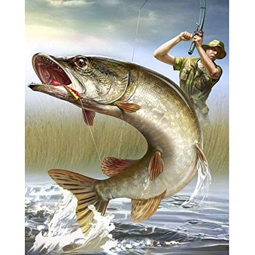 (Full 5D DIY Diamond Painting Big Fish 3D Diamond Painting Round Rhinestones Full Diamond Painting Embroidery People Fish 30x40 cm)