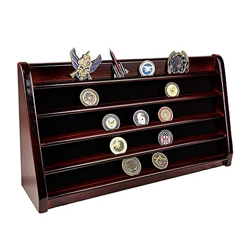 XJmil Challenge Coin Display Holder 5 Rows Military Coin Stand Rack (Mahogany Finish)