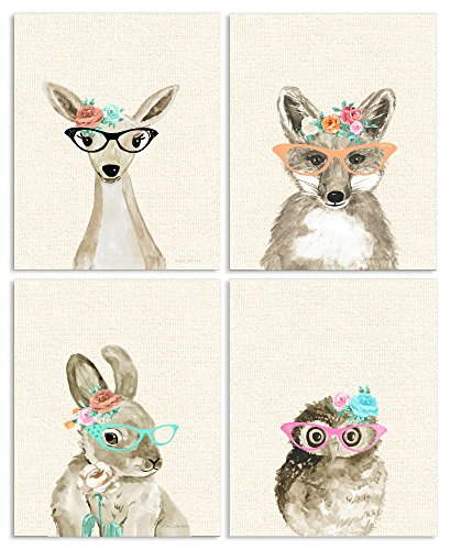 Stupell Industries Woodland Critters with Cat Eye Glasses 4pc Wall Plaque Art Set, 10 x 0.5 x 15, Proudly Made in (Critters Wall)