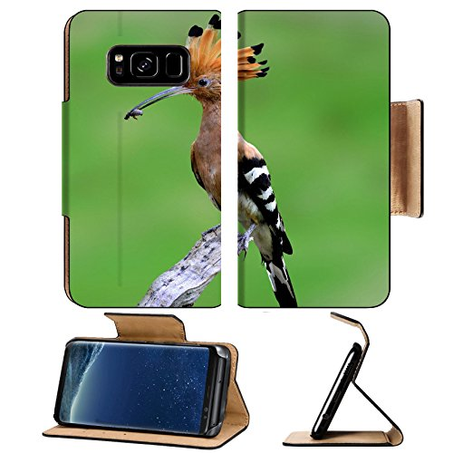 Liili Premium Samsung Galaxy S8 Plus Flip Pu Leather Wallet Case ID: 26565796 Common Hoopoe or Eurasian Hoopoe on the branch with food in mouth for its chicks in the nest on green ()