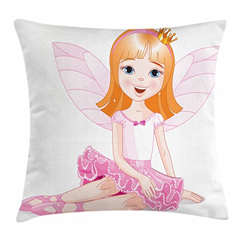 Lunarable Princess Throw Pillow Cushion Cover, Little Fairy Ballerina Sitting on a Floor Smiling Young Angel with Wings, Decorative Square Accent Pillow Case, 28 X 28 Inches, Orange Pale Pink (Wings Pink Club Fairy)