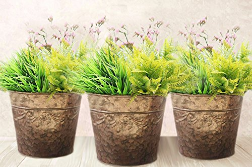 Garden Pots and Planters , 10.2 Inch Metal Flower Plant Containers, Corrugated Galvanized Rose Gold, Pack 3