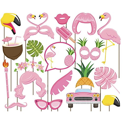 Msliy DIY Photo Booth Props Hawaii Flamingo Series Birthday Wedding Holiday Party Supplies Decorations Mix of Hats Lips Mustaches and More (20 pcs, pink)