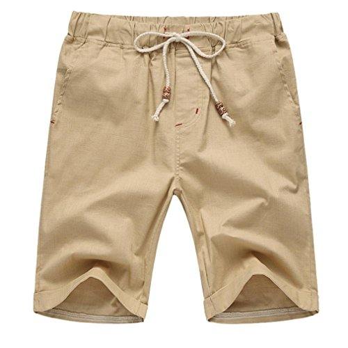 vermers Hot Sale Men Summer Short Pants Linen Cotton Solid Beach Casual Elastic Waist Classic Fit Shorts(5XL, Khaki)