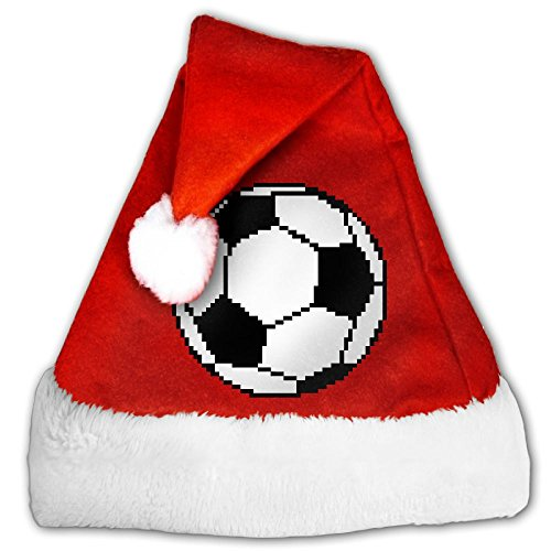 Soccer Ball Pixel Art Holiday Christmas Xmas Santa Party Hat Golden Velvet Perfect For Children And Adults