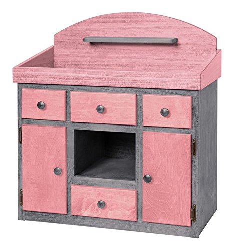Deluxe Doll Changing Table Playroom Furniture USA Handmade, Pink & Gray by Clip Clop