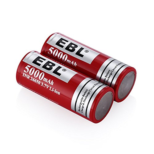 EBL Pack of 4 5000mAh 3.7 Volt 26650 Battery Rechargeable Li-ion High Drain Battery for Flashlight, Vapor