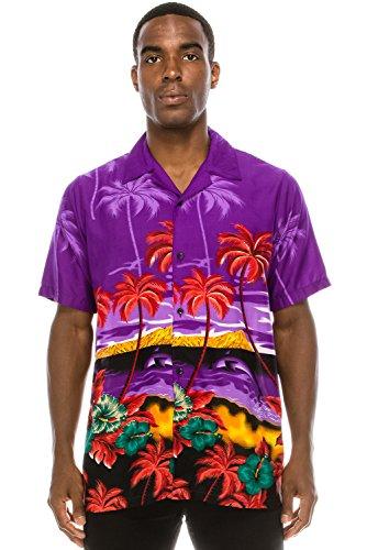 Street Shirt Hawaiian (JC DISTRO Mens Hipster Hip Hop Palm Tree Graphics Button up Purple Hawaiian Shirt 2XL)