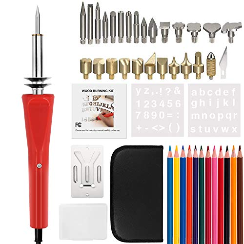 Wood Burning Kit, 44Pcs Full Set Woodburning Tool Pyrography Pen Set with Wood Burning/Soldering/Carving/Embossing Tips-Stencil, 12 Color Pencils, Carving Knife, Stand & Portable Case