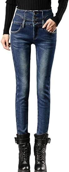 Memories Love Womens High Waist Stretchy Fleece Pencil Pants Denim Jeans Pants