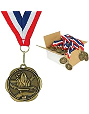 Set of 100 Award Medals with Neck Ribbons - Torch