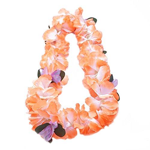 Premium Hawaiian Lei - Paradise Petunia w/ Orchids in Tangerine Orange (Petunia Orchid)