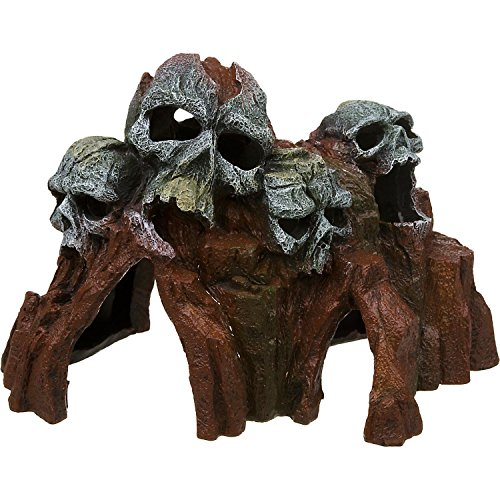 Blue Ribbon Exotic Environments Skull Mountain Aquarium Ornament, Medium, 9-Inch by 6-Inch by 6-Inch by Blue Ribbon