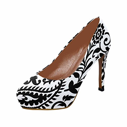 InterestPrint Womens Classic Fashion High Heel Platform Pumps Paisley Black and White Pattern t0Mfz