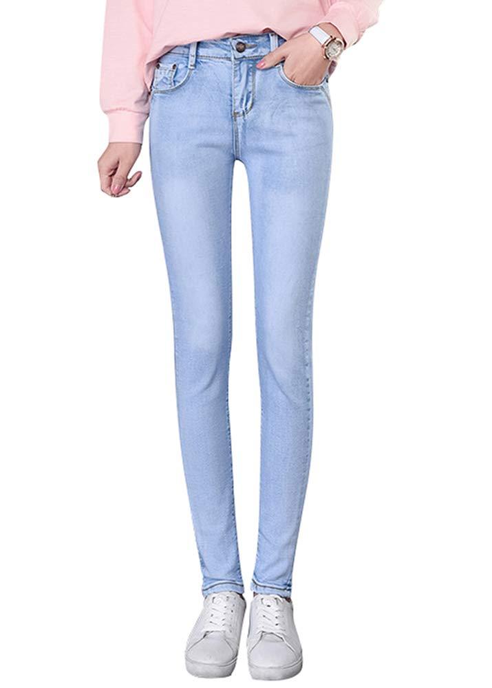 Smibra Womens Long Pencil Pants Classic Stretch High Waist Distressed Denim Jeans