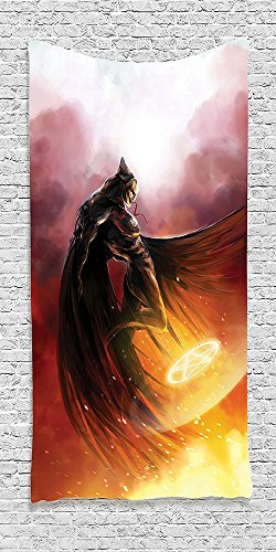 Cotton Microfiber Bathroom Towels Ultra Soft Hotel SPA Beach Pool Bath Towel Fantasy World Collection Superhero in His Original Costume Flying Up to Magic Flame Save the World Theme Yellow