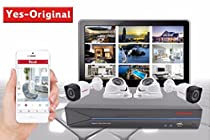 Yes-Original 3 MP HD-TVI Security Camera System 4CH DVR Recorder and (4) 3 MP 1920TVL Indoor / Outdoor Fixed CCTV Cameras - NO Hard Drive Included
