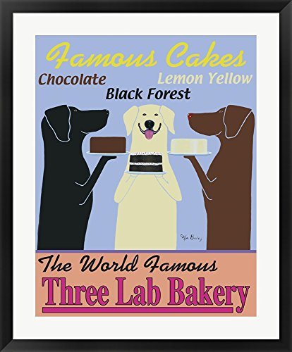 (Three Lab Bakery by Ken Bailey Framed Art Print Wall Picture, Black Frame with Hanging Cleat, 29 x 37 inches)