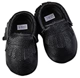 Unique Baby Leather Baby Moccasins Anti-Slip Shoes XXS (4.3 inches) Black