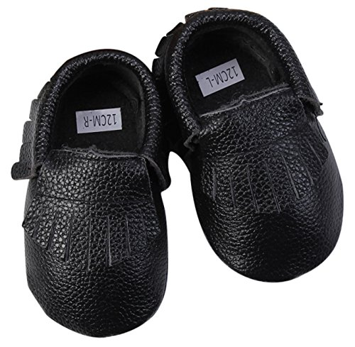 Unique Baby Leather Baby Moccasins Anti-Slip Shoes XXS (4.3 inches) Black by Unique Baby