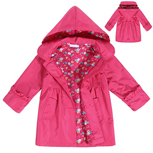 CNlinkco Girls' Raincoat, Cute Long Sleeve Flower Waterproof Hooded Jacket Outerwear (Rose Red, 120 (Age For - Girl Long Outerwear Sleeve