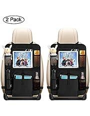 Auto Rückenlehnenschutz, opamoo 2 Stück Auto Rücksitz Organizer für Kinder, Große Taschen und iPad-/Tablet-Fach, Wasserdicht Autositzschoner, Kick-Matten-Schutz für Autositz