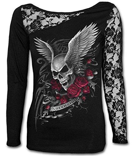 Shirt T Sweat Imprim Gothique pissure Manches Punk Tte Tops Col Rond Noir Pour Shirts Monika Chic de Mort Longues Tops Dentelle Femme Chemisiers Haut 8AqznwP