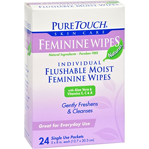 - Puretouch Feminine Wipes Flushable - 24 Wipes (Pack of 2)