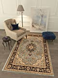 Persian Classic Light Blue 3'11'' x 5'3'' Area Rug Oriental Floral Motif Detailed Classic Pattern Antique Living Dining Room Bedroom Hallway Office Carpet Easy Clean Traditional Soft Plush Quality