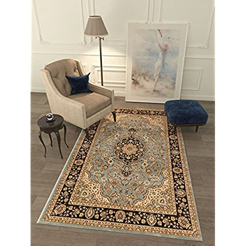 96 Area Rug Oriental Floral Motif Detailed Classic Pattern Antique Living Dining Room Bedroom Hallway Office Carpet Stain Resistant Traditional Soft