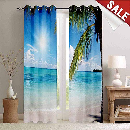 Astoria Clear Crystal (Hengshu Summer Decor Curtains by Tropical Paradise Beach with Coconut Palms Crystal Ocean Clear Sky Room Darkening Wide Curtains W96 x L96 Inch Sky Blue Fern Green Pearl)
