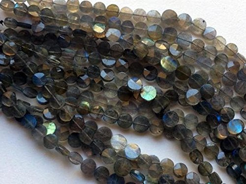 5 strand Labradorite faceted coin shape beads 13
