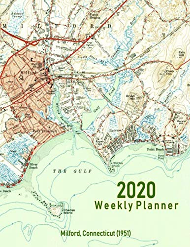 2020 Weekly Planner: Milford, Connecticut (1951): Vintage Topo Map Cover