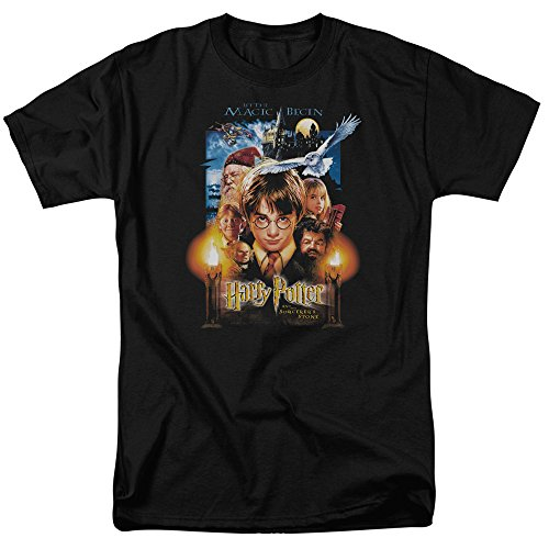 Harry Potter and the Sorcerer's Stone Movie Poster Adult Men's T-shirt Black (Medium)