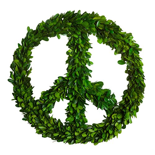 "Preserved Boxwood Wreath Peace Sign (12"")"