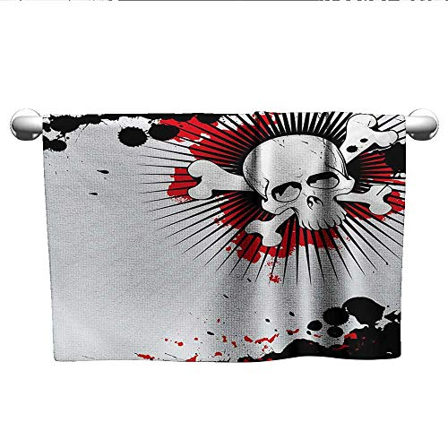 xixiBO Striped Towel W20 x L20 Halloween,Skull with Crossed Bones Over Grunge Background Evil Scary Horror Graphic,Pearl Red Black Highly Water Absorbent Hotel Bathroom Towel]()