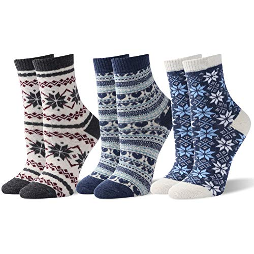 (Warm Thick Heavy Thermal Crew Socks, Sunew 3 Pairs Multicolor Womens Fashion Cold Weather Soft Warmest Wool Snowflake Striped Winter Cozy Knit Fuzzy Home Slipper Crew Socks Birthday Gift for Mom)