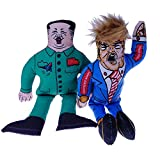 2 in 1 Packs Donald Trump Dog Toy with Kim Jong Un Gag Gifts for Dog Funny Parody Squeaky Dog Chew Toy, 10″ (2 Toys) For Sale