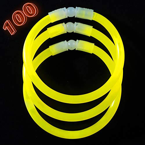 Glow Sticks Bulk Party Supplies - 100 Light Stick Bracelets - Extra Bright Glow in The Dark Party Favors - 8 Inch Bracelet Strong 6mm Thick - 9 Vibrant Neon Colors - Stuffers for Kids - Yellow