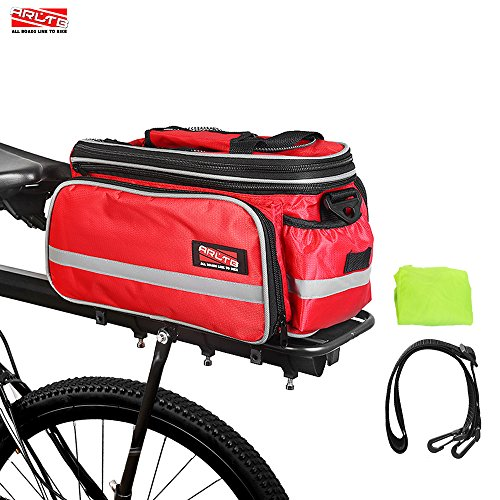 Arltb Bike Rear Bag (3 Colors) 20 – 35L Waterproof Bicycle Trunk Bag with Rain Cover Shoulder Strap Bike Pannier Tail Back Seat Bag Package Handbag Bike Accessories for Road Bikes Mountain (Red-)