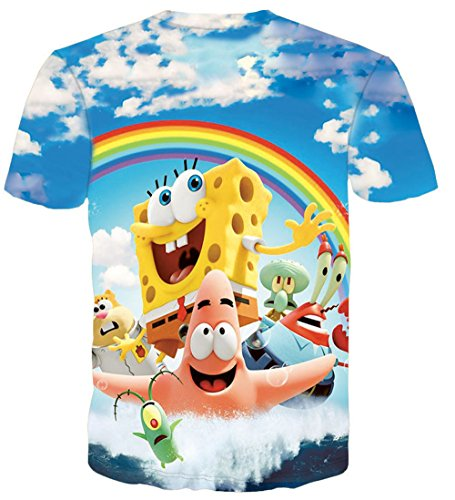 [Yadil Mens SpongeBob Print 3D Cotton Round Neck Short Sleeve T-Shirts] (Costumes Halloween Yahoo)