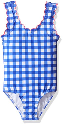 Hulu Star Little Girls' Summer Skies Gingham One Piece Swimsuit, Cobalt, 6 - Gingham Girls Swimsuit