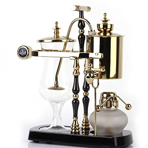 Diguo Belgian/Belgium Luxury Royal Family Balance Siphon/Syphon Coffee Maker. Elegant Double Ridged Fulcrum with Tee handle (Egyptian Black & Gold) by Diguo (Image #2)