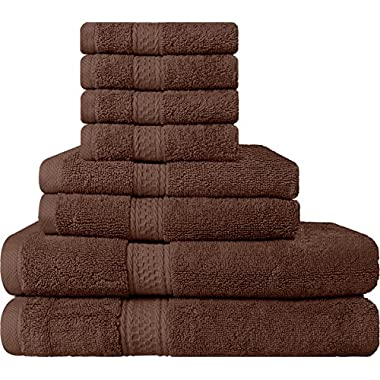 Premium 8 Piece Towel Set (Brown); 2 Bath Towels, 2 Hand Towels & 4 Washcloths - Cotton - Machine Washable, Hotel Quality, Super Soft and Highly Absorbent by Utopia Towels