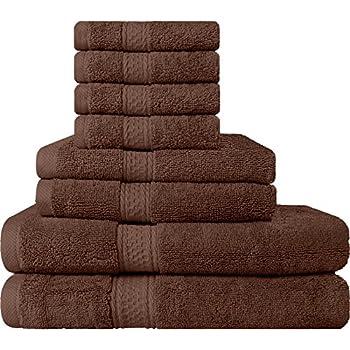 Amazon Com Premium 8 Piece Towel Set Dark Brown 2 Bath