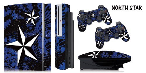 Protective skins for FAT Playstation 3 System Console, PS3 Controller skin included - NORTHSTAR BLUE