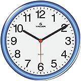 Relógio De Parede Disco Haller 22cm (Aro Azul)